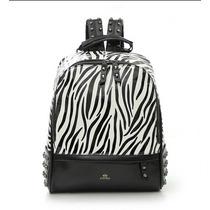 Mochila Estampa Zebra Em Couro Pu Moda Rock Fashion Rebites