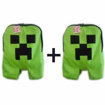 Kit Mochila Infantil Minecraft Creeper Material Escolar Aula
