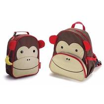 Kit Mochila Animais Skip Zoo+lancheira+squezzo Macaco