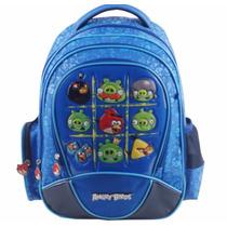 Mochila Costas Escolar Notebook Acolchoada Angry Birds Azul