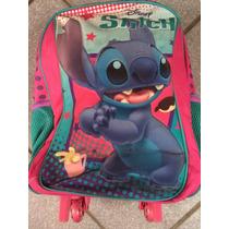 Mochila Infantil Escolar Disney Stitch Com Rodinha
