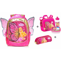 Kit Mochila Escolar Costas (g) Barbie Butterfly Asas Sestini
