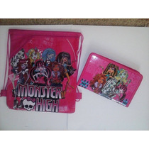 Mochila, Bolsa Sacola Monster High + Capa Para Tablet Menina
