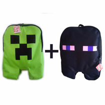 Kit Material Escolar Mochila Jogo Minecraft Creeper Enderman