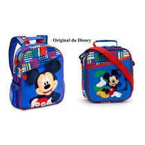 Kit Mochila E Lancheira Mickey Original Da Disney Lançamento