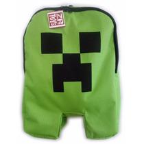 Mochila Infantil Minecraft Creeper C\ Ziper Escolar Verde