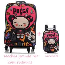 Mochila Pucca Grande Com Rodinhas + Lancheira - Kit