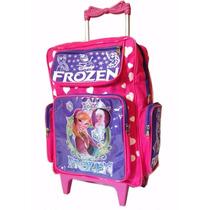 Mochila Escolar Infaltil Frozen Com Rodinhas + Brinde