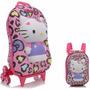 Mochila Infantil Rodinhas 3d + Lancheira Hello Kitty Leopard