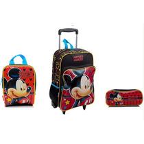 Kit Mochila Escolar Rodinhas Mickey Mouse Disney Sestine