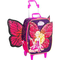 Mochila Baú C/ Roda Barbie Butterfly E A Princesa Fairy Roxa