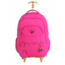 Mochila Capricho Rosa Pink Rodas - Coleção 2016