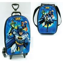 Mochila Infantil Rodinhas 3d + Lancheira Liga Justiça Batman