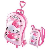 Mochila Infantil Rodinhas 3d + Lancheira Hello Kitty Max Toy