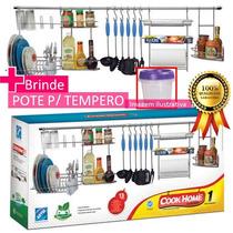 Suporte Utensílios Cozinha Cook Home 1 Master Aço Cromado E+