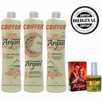 Kit Escova Progressiva De Argan Profissional Coiffer +brinde
