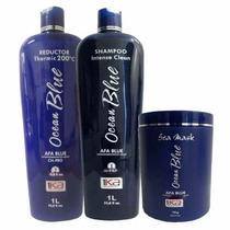 1ka Kit Ocean Blue Escova Progressiva Sem Formol 3 Produtos