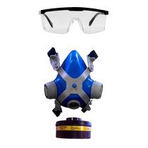 Máscara Com Óculos De Segurança P/ Pintura, Orgânicos, Vapor