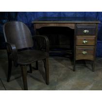 Escrivaninha E Cadeira Estilo Decô Tampo De Couro