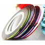 10 Rolos De Fita Adesiva Metal Para Unha (coloridas Sortidas