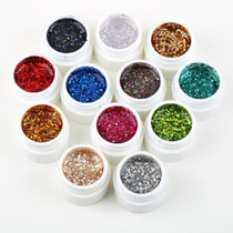 Kit Com 12 Gel Colorido Com Glitter Para Decoração De Unhas
