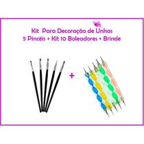 Kit Decoração De Unhas 5 Pinceis + 10 Boleadores + Brinde