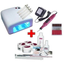 Kit Uv Unhas Gel - Cabine + Lixa + Kit Gel Lidan + 500 Tips