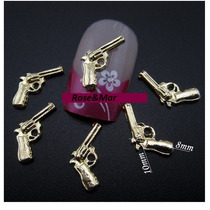 10 Un. Joia/aplique Strass De Unha Pistola - Frete Grátis