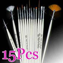 Kit 15 Pincel E 5 Boleador Para Decoração De Unhas