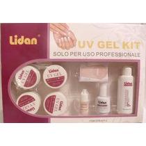 Kit Gel Uv Para Unhas Acrygel Tips Lidan Cola Top Coat Lixa