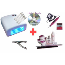 Kit Uv Unhas Gel, Cabine + Lixa + Kit Gel Lidan 12 + Alicate