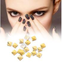 50 Apliques Unha Folheado Ouro Nail Art Mod Quadrado Grande
