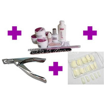 Kit Uv Unhas Gel Lidan 12 Peças + Alicate + Kit Tips Acrygel