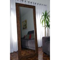Espelho Grande Com Moldura De Madeira Estilo Rústico