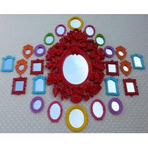 Kit 25 Espelhos / Molduras Estilo Coloridos