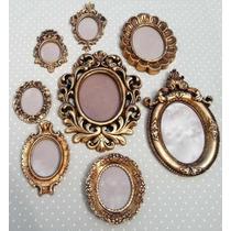 Kit 8 Espelhos Com Moldura Em Resina Estilo Ouro Velho