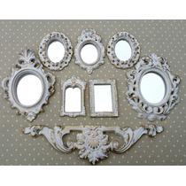Kit 7 Espelhos Com Molduras Em Resina Estilo Ouro Provençal