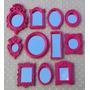 Kit 8 Mini Espelhos Com Moldura De Resina Pink + Brinde