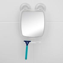 Espelho E Porta Barbeador Com Ventosa Astra Cor Cristal