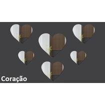 Espelhos Decorativos Acrílico Kit 6 Unidades Coração