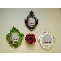 Conjunto 03 Espelhos Decorativos, Com 01 Rosa De Parede.