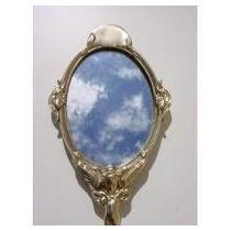 Lindo Espelho De Mão Em Bronze Decorado Retratando Anjo