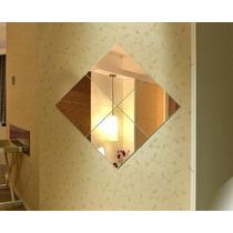 Dourado Espelho Decorativo Sala Acrílico Montado 50x50 4 Pc