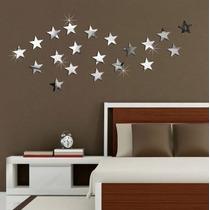 20 Estrelas - Acrílico Decorativo Espelho - Quarto Sala Bebê