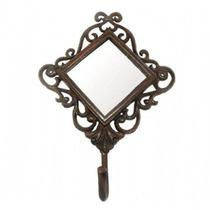 Espelho Decorativo Diamante C/ 1 Gancho Marrom Em Ferro
