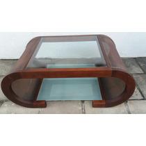 Mesa Mesinha De Centro Em Madeira Entrliçado Com Vidro