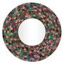 Espelho Redondo Decorativo Moldura Mosaico Color 60cm Bali