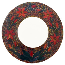 Espelho Redondo C/ Moldura Mosaico Florido 60cm - Arte Bali
