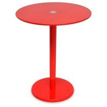 Mesa De Canto Laqueada Tampo De Vidro Vermelha