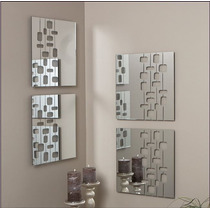 Espelho Decorativo 4 Peças 45cm Sala Grande Acrílico